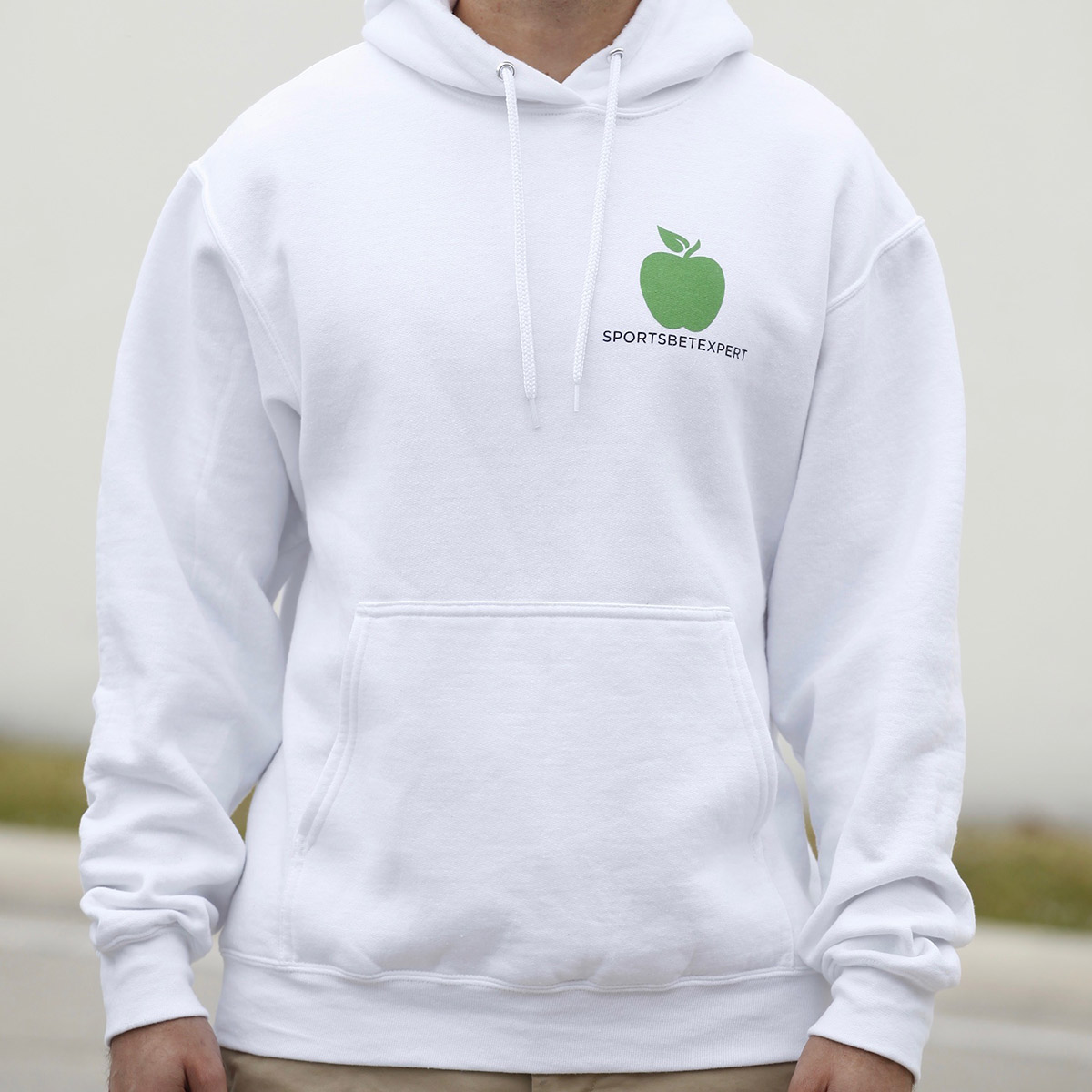 You got to have brains but you got to have balls too - white hooded sweatshirt - front